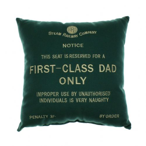 Dad's Chair Cushion - Locomotive Steam Train Memorabillia Gift - First Class Dad